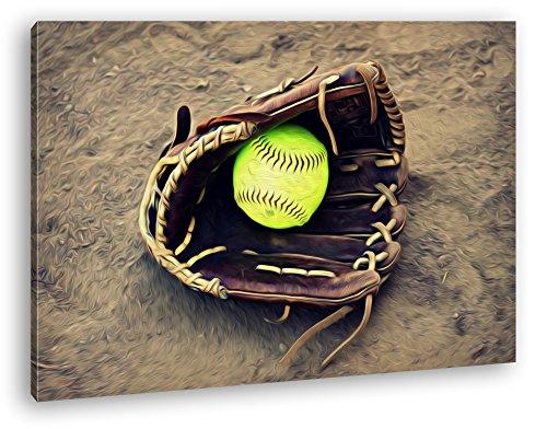 deyoli Softball Handschuh Effekt: Zeichnung Format: 100x70 als Leinwandbild, Motiv fertig gerahmt auf Echtholzrahmen, Hochwertiger Digitaldruck mit Rahmen, Kein Poster oder Plakat -