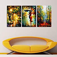 RDCHY Canvas Wall Art Paintings Woman and umbrella Modern Artwork Picture - HD Printed Painting Poster background Decorative for Home Bedroom Living Room Office Decoration, 3 pieces