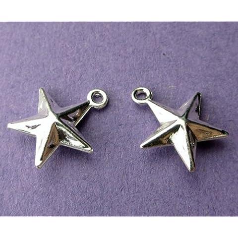 10 mm x 10 mm, placcati in argento, a forma di ciondolo a forma di stella, 10 pezzi