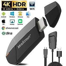 Gifort Wireless WiFi Display 4K HD 2.4G 5G Adapter HDMI, Drahtlos Mini Anzeigeempfänger teilen 4K HD Videos Audio/Bild/Live Kamera/Musik vom PC/Telefon auf TV Monitor Projektor