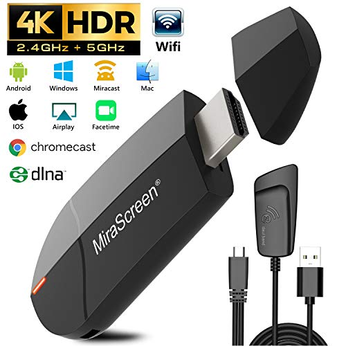 Gifort Wireless WiFi Display 4K HD 2.4G 5G Adapter HDMI, Drahtlos Mini Anzeigeempfänger teilen 4K HD Videos Audio/Bild/Live Kamera/Musik vom PC/Telefon auf TV Monitor Projektor (/ Dongle Video-receiver)