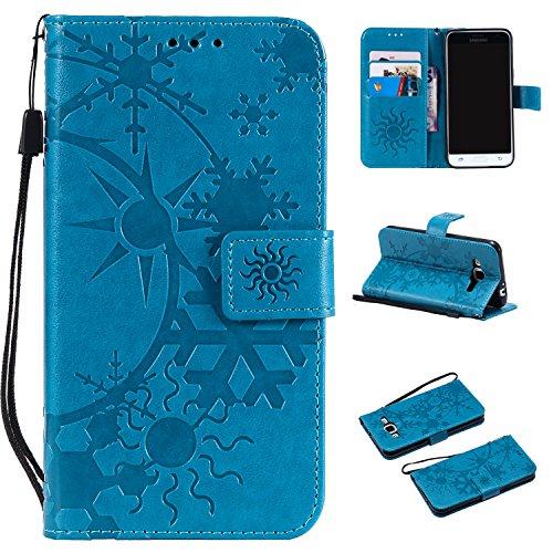 Carols Samsung Galaxy Grand Prime SM-G530 G531F Custodia, [Sollievo del Fiocco di Neve] PU Pelle Leather Wallet Supporto Stand e Porta Carte Integrati Portafoglio Flip Custodia Case Cover - Blu