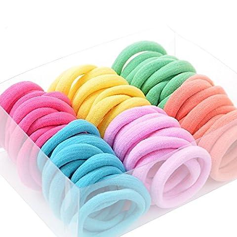 Mädchen Elastische Haarbänder Kinder Pferdeschwanz Elastik Haar Kreis-120 Stück ( Farbe : 1 )