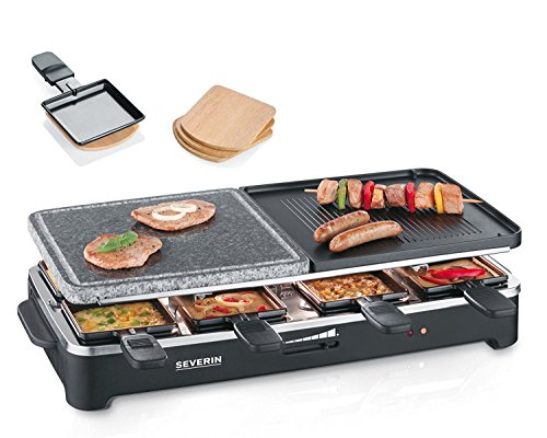 Severin RG 9474 Party Barbecue avec naturel pierre inclus 4 Raclette de Planchette, 1500 W Noir (Certifié Reconditionné)