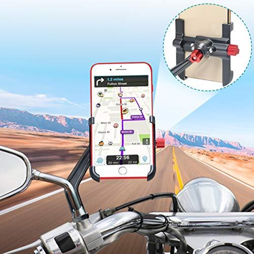 Support Telephone Moto Aluminium, 360°Rotatable Support Smartphone Moto Support Telephone Scooter, Universel Support Téléphone Moto Rétroviseur pour iPhone Samsung Huawei (4-6.8'') (gris foncé)