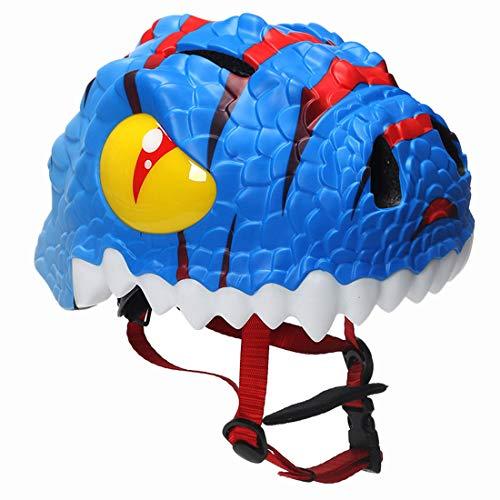 Yavso Kinderfahrradhelm Dinosaurier 3D Sicherer Fahrradhelm Kinder Helm Rollerhelm für Kinder Baby Mädchen Jungen 49-54cm (Blau)