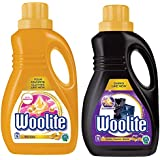 Woolite Laundry Liquid Detergent, Pro-care - 1 l (Gold) & Laundry Liquid Detergent, Darks - 1 l (Black) Combo