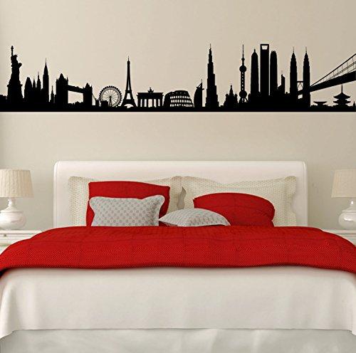 City monumenti del World. qualità in vinile opaco Decal. da 6 colori., nero - nero, 146cm x 28cm