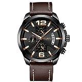 XLORDX Luxus Herren Uhren Quarz Datum Chronograph Wasserdicht Uhren Business Sport Design Braun Lederarmband Armbanduhr