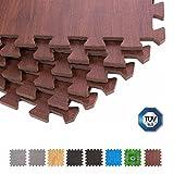 BodenMax® CRS804910-3030-18 Bodenmatte Puzzle Teppich Eva TÜV Dunkles Holzmuster 30x30x1 cm (18 Stück)