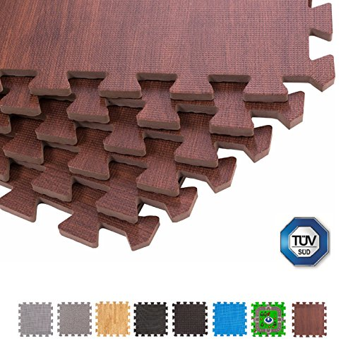 BodenMax® CRS804910-3030-18 Bodenmatte Puzzle Teppich Eva TÜV Dunkles Holzmuster 30x30x1 cm (18 Stück)