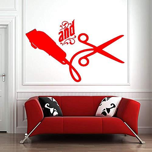 zhuziji Friseursalon Wandaufkleber Fenster Aufkleber Aufkleber Friseur Haar Werkzeuge Schere Friseur Beauty Salon Friseursalon Zeichen De 88A-5 89x57cm