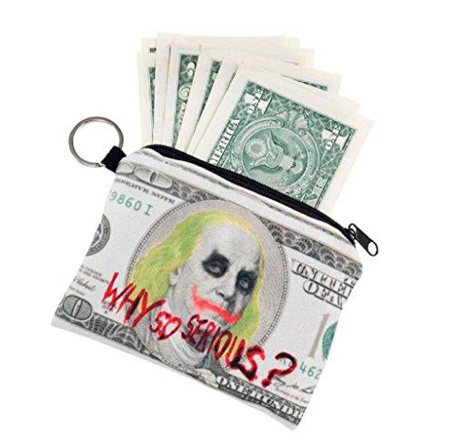 Geldbörsen, Rcool Mädchen aus Polyester Handtasche Clutch Reißverschluss Null Brieftasche Telefon Schlüsseltaschen drucken (Blau) Grau