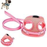 Comficent Hundegeschirr Einstellbar Weste Brustgeschirr Sicher Kontrolle Softgeschirr Leine Halsband Geschirr Set für Hunde Katze Haustier (Pink)