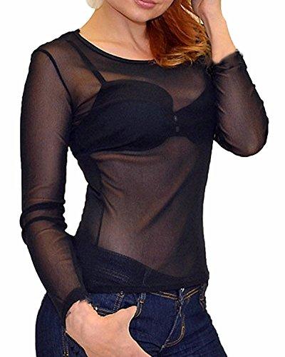 Fortuning's JDS Sexy maniche lunghe magro Vedere attraverso Tops Clubwear camicetta per le donne nero-4