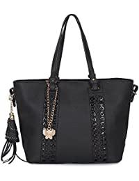 Butterflies Women Handbag (Black) (BNS 8097#BK)