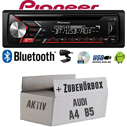 Autoradio Radio Pioneer DEH-S3000BT - Bluetooth | CD | MP3 | USB | Android Einbauzubehör - Einbauset für Audi A4 B5 Aktiv - JUST SOUND best choice for caraudio