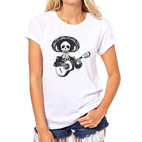 Mexican Skeleton Playing Guitar Black Damen T-Shirt Weiß