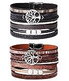 Milacolato 2Pcs Bracelet Manchette en Cuir bohème pour Femmes Filles Multicouche Arbre de la Vie Wrap Bracelet Bracelets Set Cadeau pour épouse Petite mère