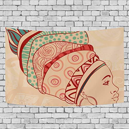 JSTEL Wandteppich Afrikanische Frau und Elemente, Wandbehang Dekoration für Wohnzimmer, Wohnzimmer, Tisch, Überwurf, Tagesdecke, Schlafsaal 100 x 150 cm, Multi, 150 x 200 cm - Afrikanische Wohnzimmer Tisch