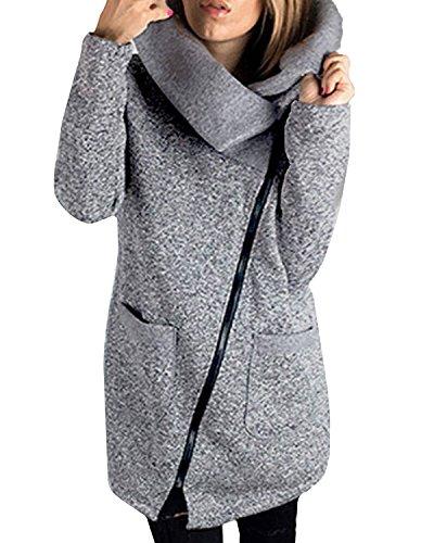 StyleDome Donna Cappotto Giacca Lunga Dolcevita Cardigan Invernale Elegante Moda Cerniera Cerniera Grigio IT 44