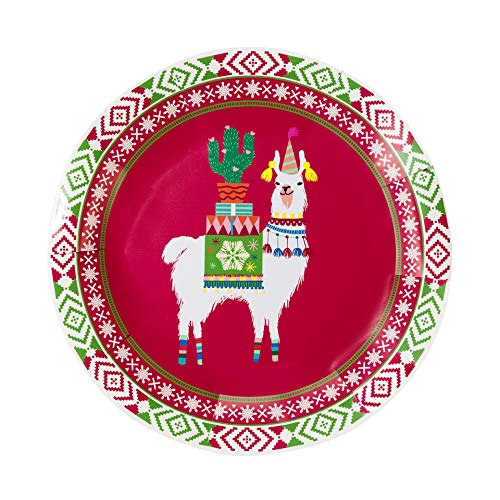 Talking Tables FIESTIVE-PLATE Zubehör | Weihnachten Weihnachtsparty Tiermotiv, Lama Pappteller | 12 Stück, Multifarbe