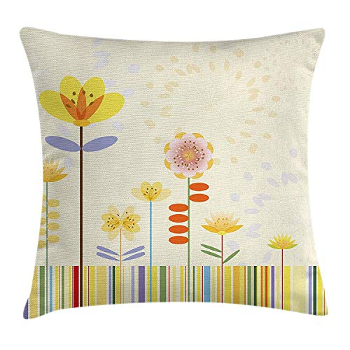 VVIANS Watercolor Flower Home Decor Throw Pillow Cushion Cover, Kinds of Flower Pattern in Soft Girly Retro Kids Nursery Theme, Decorative Square Accent Pillow Case, 18 X 18 inches, Multi