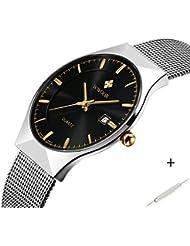 Herren Elite Sport Quarz Armbanduhr Stecker silberfarbenes Ultrathin Edelstahl Mesh Band Uhr mit Datum schwarz