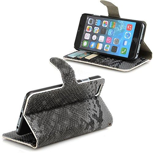 Madcase Apple iPhone SE / 5S / 5 Schutzhülle Ledertasche mit Kartenfach Premium Design Case Tasche Portemonnaie PU Leder Hülle - Orange Schlangenhaut - Grau