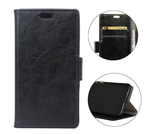Cover Per iPhone X, Sunrive Custodia con supporto di stand e in pelle artificiale per carte di credito Portafoglio Flip Chiusura Magnetica Protettiva(crazy-cavallo bianco) crazy-cavallo nero