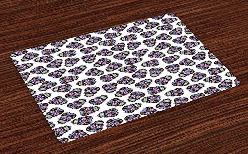ABAKUHAUS Zuckerschädel Platzmatten, Kulturelle Symbole für Dia de Los Muertos Konzept Floral Skulls, Tiscjdeco aus Farbfesten Stoff für das Esszimmer und Küch, Hellblau Violett und Schwarz