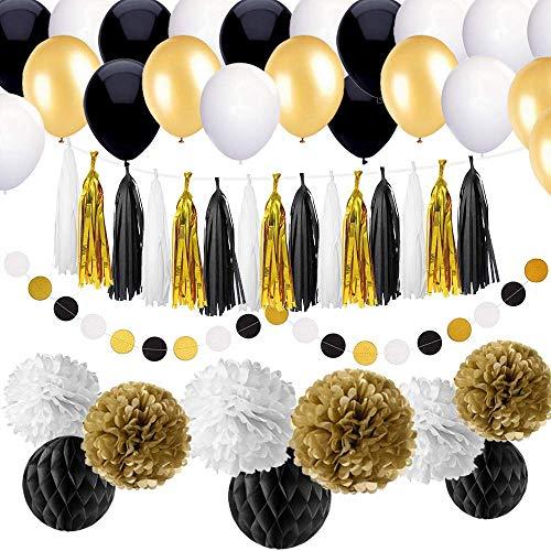 d Gold Party Dekorationen Kit Geburtstag Partyzubehör für Erwachsene 25., 30., 40., 50., 55., 60., 70. und andere Gelegenheiten wie Hochzeit, Jubiläum, Verlobung, Baby-Dusche (DIY) ()