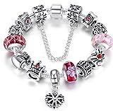 Braccialetto Pandora compatibile con perle in vetro di murano, cuore ciondolo e catenina di sicurezza,20cm