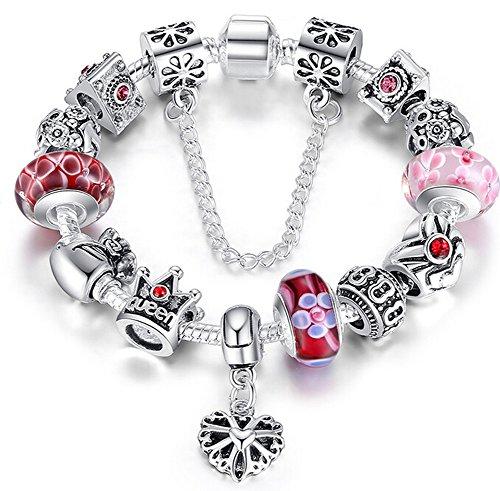 Braccialetto-Pandora-compatibile-con-perle-in-vetro-di-murano-cuore-ciondolo-e-catenina-di-sicurezza20cm
