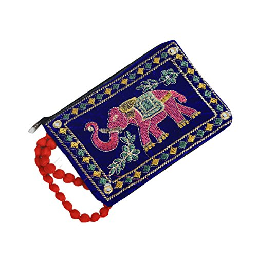 Kuber Industries™ Designer Mobile-Phone Pouch Cover With Hand Dori For Women: Rich Embroidery In Traditional Indian Style (Blue) - BG66  available at amazon for Rs.169
