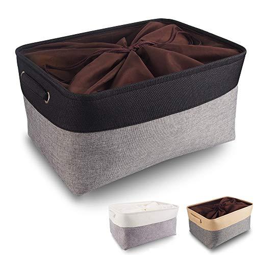Mangata aufbewahrungsbox Stoff, aufbewahrungsbox graugroß, Korb aufbewahrung Stoff mit Griffen für Schrank, Spielzeug, kleiderschrank, Regale, Kleidung (faltbar, groß, schwarz)
