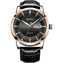 BUREI® Men's Luminous Day and Date Automatic Watch with Black Calfskin Band, Rose Gold Bezel Black Dial