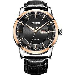 BUREI® Herren Uhr Datum und Tagesanzeige Mechanische Uhr Wasserdicht Uhr Schwarz Lederarmband