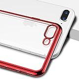Cover iPhone 7 Plus, CASEKOO Silicone Ultra Slim Molle Trasparente con Disegni Anti-Graffio protettiva Aria-Cuscino Assorbimento Urti Bumper Caso Tecnologia di Assorbimento per Apple iPhone 7 Plus (5.5)- Rosso