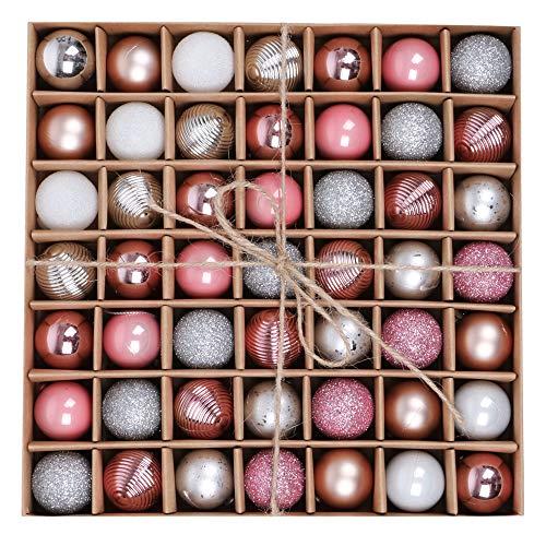 Valery madelyn palline di natale 49 pezzi rosa argento lucido glitterato glassato di plastica di natale baubles con gancio ornamenti per l'albero di natale decorazione di natale per la festa nuziale
