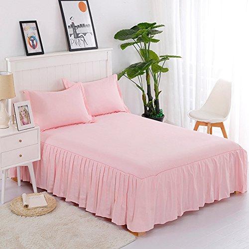 Rock Solid Farbe Baumwolle Tagesdecke Displayschutzfolie Spitze Volants griffigen Bed Sets 120x200cm(47x79inch) rose