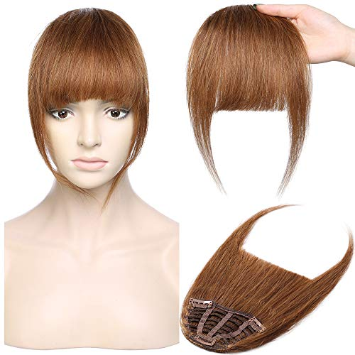 Silk-co Pony Haarteil Echthaar Hellbraun #6 Clip in pony - Extensions Echthaar Haarteil Haarverlängerung mit Tempel Ein Stück 25g