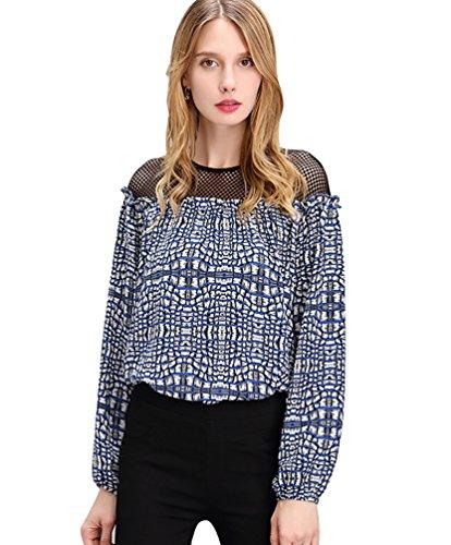 NiSeng Damen Blusen Langarmshirt Rundkragen Hemd Shirt Rundkragen Elegante Hemden Blau