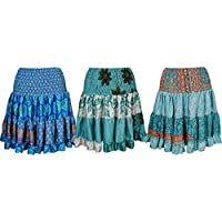 Mogul Interior Womens Gypsy Fun Recycled Silk Skirt Flared Naomi Tiered Knee Length Skirts Wholesale Set Of 3