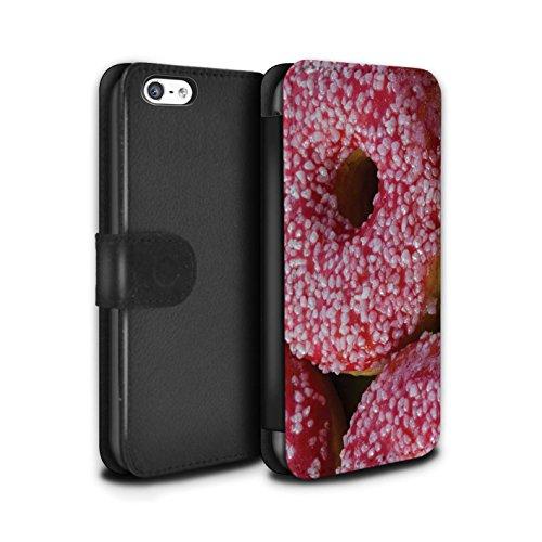 Stuff4 Coque/Etui/Housse Cuir PU Case/Cover pour Apple iPhone 5C / Chocolat/Rose Design / Beignets Savoureux Collection Fraise