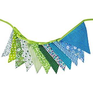 Schöne Blumengewebe Bunting Dreieck Fahnen Wimpel 12 Flaggen Double Sided Hochzeit Banner 10 Feet, Grün und Blau