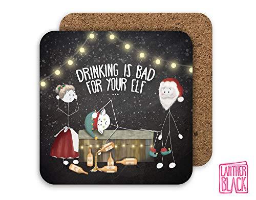 Posavasos de Navidad divertido, Papá Noel secreto, relleno de calcetín, mantel de cerveza, mal para tu elfo