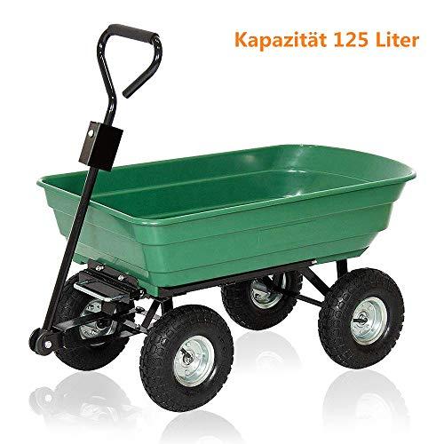 AUFUN Chariot de Jardin à Bascule Chariot de Transport Charge 350kg capacité 125L Heavy Duty métal Jardinage Chariot Remorque Panier Charrette à Bras, Fonction d'inclinaison - Type B2