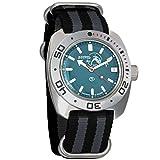 Vostok Amphibian Scuba Dude Automatic Mens Wristwatch Self-Winding Military Diver Amphibia Ministry Case Wrist Watch #710059 (Black+Grey-Nylon)