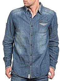 Deeluxe 74 - Chemise homme bleu effet jean délavé